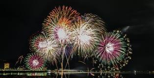 Fogos-de-artifício de Lake Biwa Foto de Stock Royalty Free