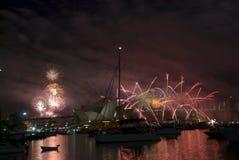 Fogos-de-artifício de NYE Sydney Fotografia de Stock