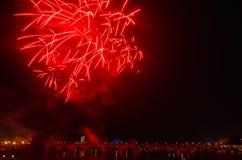 Fogos-de-artifício de San Juan em Badajoz foto de stock royalty free