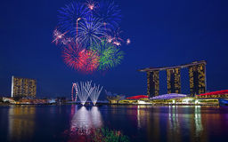 Fogos-de-artifício de Singapura Fotos de Stock