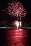 Fogos-de-artifício dia celebrações o 14 de julho em agradável Imagens de Stock Royalty Free
