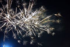 Fogos-de-artifício Dia da Independência colorido do 4 de julho em um céu noturno Foto de Stock Royalty Free
