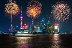 Fogos-de-artifício dia nacional da celebração em Shanghai, China do Peo fotografia de stock royalty free
