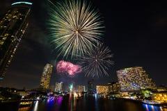 Fogos-de-artifício do ano novo Fotografia de Stock