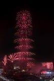 Fogos-de-artifício do ano novo de Dubai Fotos de Stock
