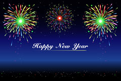 Fogos-de-artifício do ano novo feliz ilustração do vetor