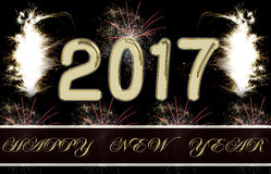 Fogos-de-artifício do ano novo feliz 2017 Imagens de Stock Royalty Free