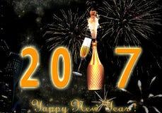 Fogos-de-artifício do ano novo feliz 2017 Imagem de Stock
