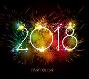 Fogos-de-artifício do ano novo feliz 2018 coloridos Imagens de Stock Royalty Free