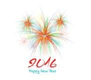 Fogos-de-artifício do ano novo feliz projeto do fundo de 2016 feriados Imagem de Stock