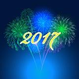 Fogos-de-artifício do ano novo feliz projeto do fundo de 2017 feriados Fotografia de Stock Royalty Free