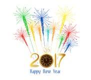 Fogos-de-artifício do ano novo feliz projeto do fundo de 2017 feriados Fotos de Stock Royalty Free