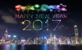 2017 fogos-de-artifício do ano novo feliz que comemoram sobre a cidade de Hong Kong Fotos de Stock Royalty Free
