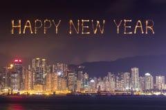 2017 fogos-de-artifício do ano novo feliz que comemoram sobre a cidade de Hong Kong Fotos de Stock