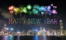 2017 fogos-de-artifício do ano novo feliz que comemoram sobre a cidade de Hong Kong Imagens de Stock Royalty Free