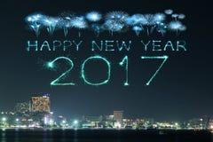 2017 fogos-de-artifício do ano novo feliz sobre Pattaya encalham na noite, Thail Fotos de Stock