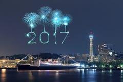2017 fogos-de-artifício do ano novo sobre o porto latem na cidade de Yokohama, Japão Imagem de Stock