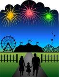 Fogos-de-artifício do carnaval da família Foto de Stock