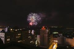 Fogos-de-artifício do centro, quarto de julho, Memphis, TN Foto de Stock