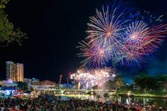 Fogos-de-artifício do dia de Austrália Fotografia de Stock Royalty Free