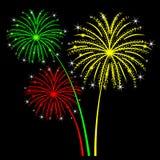 Fogos-de-artifício do feriado em um fundo preto ilustração stock