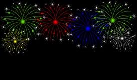 Fogos-de-artifício do feriado em um fundo preto ilustração do vetor