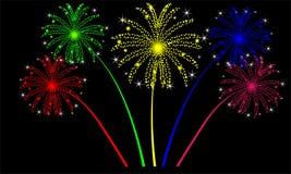 Fogos-de-artifício do feriado em um fundo preto ilustração royalty free