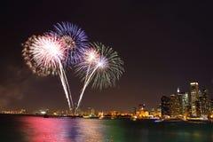 Fogos-de-artifício do verão de Chicago Fotografia de Stock