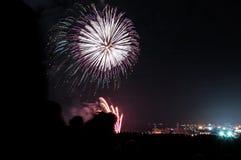 Fogos-de-artifício do Xmas em Aberdeen Foto de Stock Royalty Free