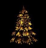 Fogos-de-artifício dourados do traço do Natal da árvore de abeto Imagem de Stock