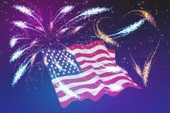 Fogos-de-artifício e bandeira americana no fundo crepuscular ilustração royalty free