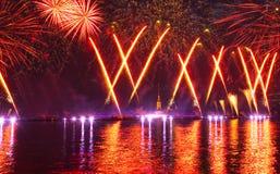 Fogos-de-artifício e mostra do laser Fotografia de Stock Royalty Free