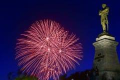 Fogos-de-artifício e Muravyov-Amurskiy Fotografia de Stock Royalty Free