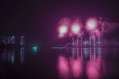 Fogos-de-artifício e reflexão no lago grande Imagens de Stock Royalty Free