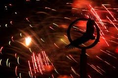 Fogos-de-artifício e um monumento a uma cegonha Fotos de Stock Royalty Free