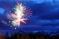 Fogos-de-artifício em Banff Fotos de Stock Royalty Free
