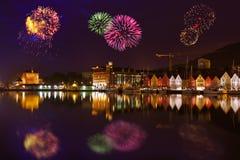 Fogos-de-artifício em Bergen Norway imagens de stock