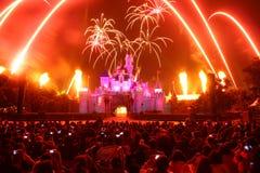 Fogos-de-artifício em Disneylâandia Fotografia de Stock