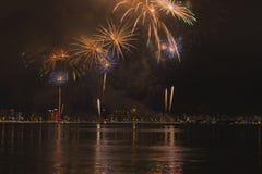 Fogos-de-artifício em Florianopolis fotografia de stock