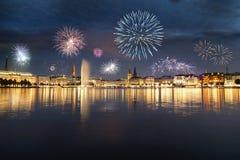 Fogos-de-artifício em Hamburgo fotos de stock royalty free