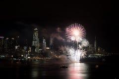Fogos-de-artifício em Hudson River, New York City Foto de Stock