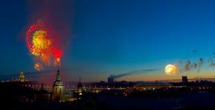Fogos-de-artifício em Moscovo fotografia de stock