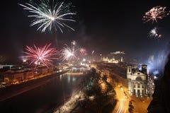 Fogos-de-artifício em Salzburg Fotos de Stock