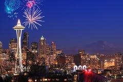 Fogos-de-artifício em Seattle fotografia de stock