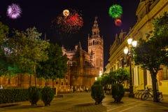Fogos-de-artifício em Sevilla Spain Imagens de Stock Royalty Free