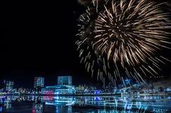 Fogos-de-artifício em Umea, Suécia fotografia de stock royalty free