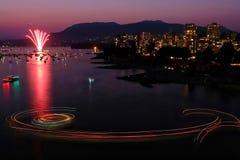 Fogos-de-artifício em Vancôver Columbia Britânica imagens de stock