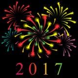 Fogos-de-artifício estrelados coloridos Shinning no preto Ano novo 2017 ilustração do vetor