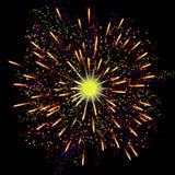 Fogos-de-artifício festivos abstratos brilhantes sobre o fundo preto Imagem de Stock