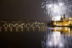Fogos-de-artifício festivos do ano novo 2009 Foto de Stock